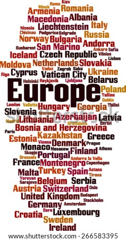 Countries in Europe word cloud concept. Vector illustration