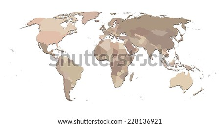 Countries isolated World map EPS8 vector file - stock vector