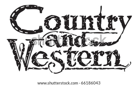 Country and Western title banner headline - stock vector