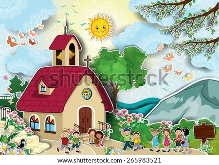 Country church with steeple happy kids running-Transparency blending effects and gradient mesh-EPS 10 - stock vector