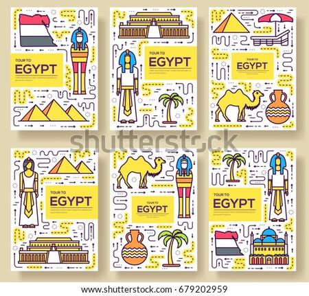 Spain vector brochure cards thin line stock vector for Egypt brochure templates