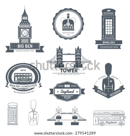 Country England label template of emblem element for your product or design, web and mobile applications with text. Vector illustration with thin lines isolated icons on stamp symbol.  - stock vector