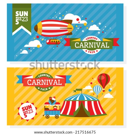 Country fair vintage invitation cards vector illustration - stock vector