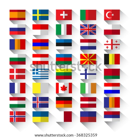 country flags on white background in flat style with long shadow