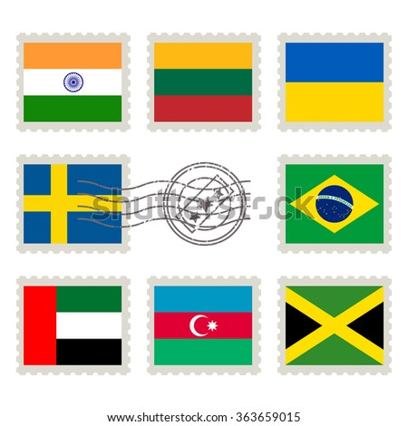 Country flags stamp set: India, Lithuania, Ukraine, Sweden, Brazil, United Arab Emirates, Azerbaijan, Jamaica