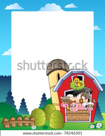 Country frame with red barn 3 - vector illustration. - stock vector