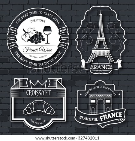 Country France set label template of emblem element for your product, logo or design, web and mobile applications with text. Vector illustration with thin lines isolated icons on stamp symbol - stock vector