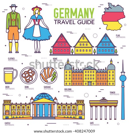 Country Germany. Travel to Germany. Vacation on Germany. Germany places. Germany icon. Germany set. Germany thin line. Germany outline. Germany eps. Germany jpg. Germany pic. Germany items. Germany - stock vector