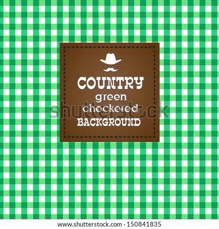 Country green checkered background. VECTOR illustration. - stock vector