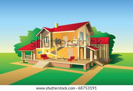 Country house without front wall, interior and exterior view in sunny day, vector illustration - stock vector