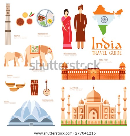 Country India travel vacation guide of goods, places and features. Set of architecture, fashion, people, items, nature background concept. Infographics template design for web and mobile on flat style - stock vector
