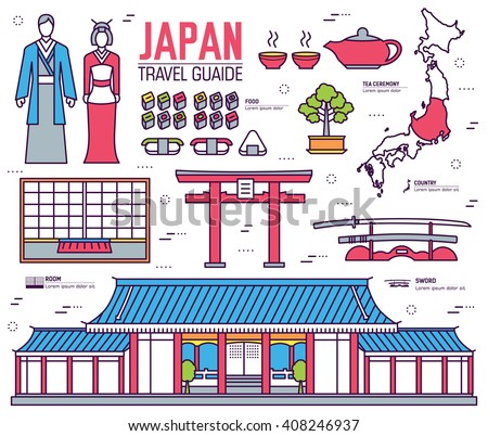 Country Japan Travel Vacation Guide Of Goods Place And Feature Set Architecture