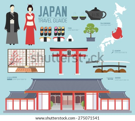 Country Japan travel vacation guide of goods, places and features. Set of architecture, fashion, people, items, nature background concept.  Infographic template design for web and mobile on flat style - stock vector