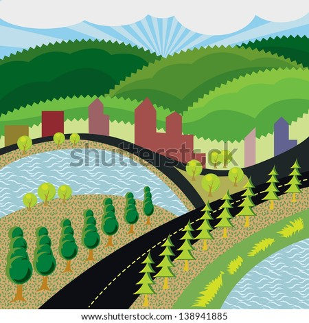 country landscape background - stock vector