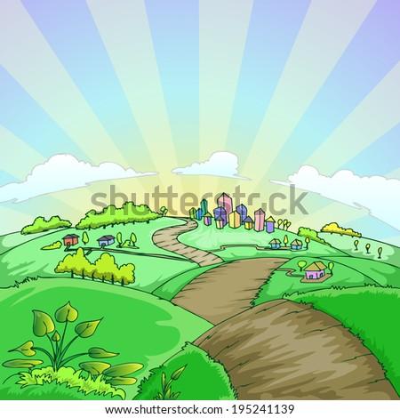 country landscape cartoon illustration - stock vector