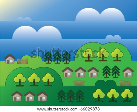 country landscape with trees and small houses background - stock vector