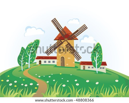 Country landscape with windmills and village. Summer landscape. - stock vector