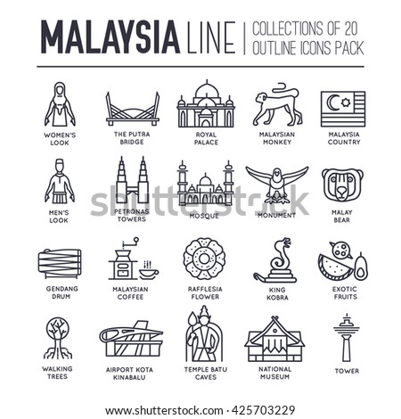 Country Malaysia travel vacation of place and feature. Set of architecture, fashion, people, item, monument background concept. Infographic traditional ethnic flat, outline, thin line icon