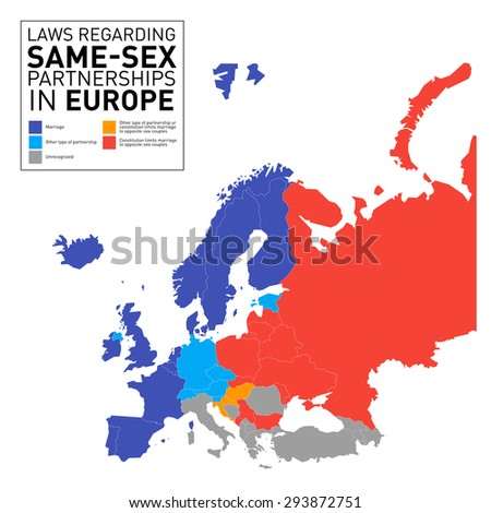 Country Map by Law regarding same-sex partnership in Europe  - stock vector