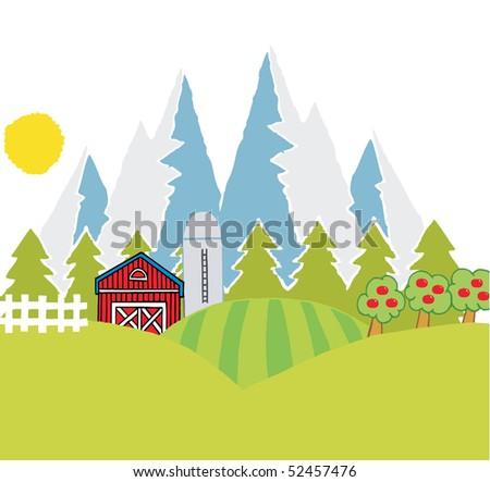 Country Mountain Farm - stock vector