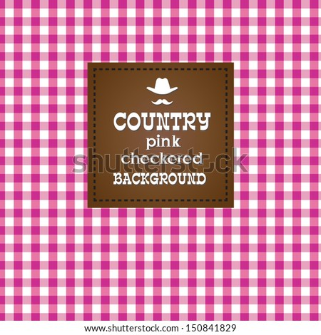 Country pink checkered background. VECTOR illustration. - stock vector