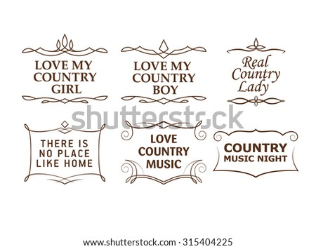 Country quotes, strokes editable - stock vector