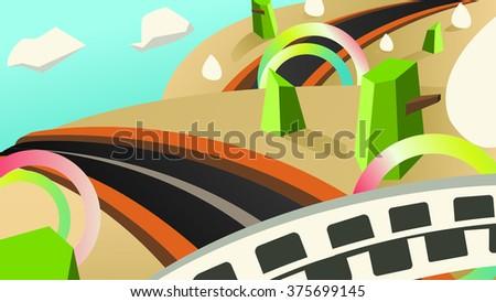 Country Road Background Cartoon Vector - stock vector