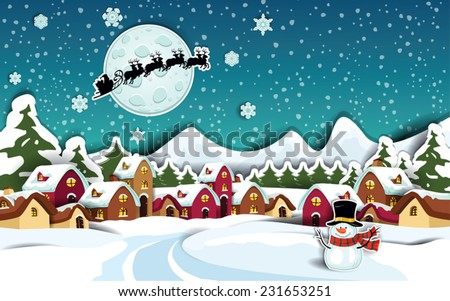 Country rural snowy at Christmas with Santa's sleigh-Transparency blending effects and gradient mesh-EPS 10  - stock vector