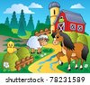 Country scene with red barn 2 - vector illustration. - stock photo