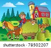 Country scene with red barn 9 - vector illustration. - stock photo