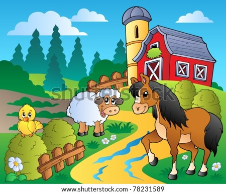 Country scene with red barn 2 - vector illustration. - stock vector