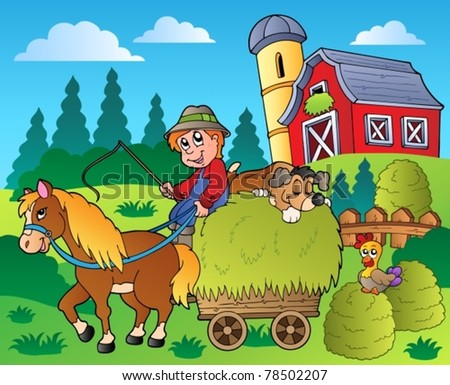 Country scene with red barn 9 - vector illustration. - stock vector