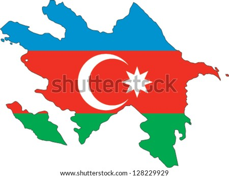 Country shape outlined and filled with the flag of Azerbaijan - stock vector