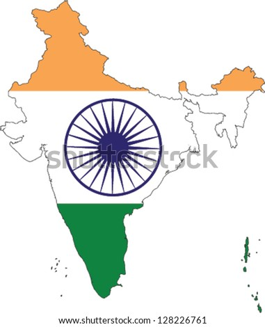 Country shape outlined and filled with the flag of India - stock vector