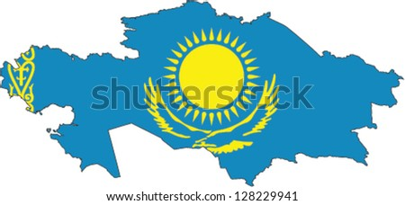Country shape outlined and filled with the flag of Kazakhstan - stock vector