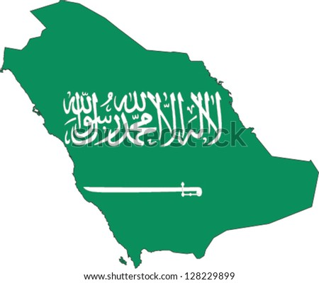 Country shape outlined and filled with the flag of Saudi Arabia