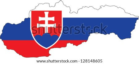 Country shape outlined and filled with the flag of Slovakia - stock vector