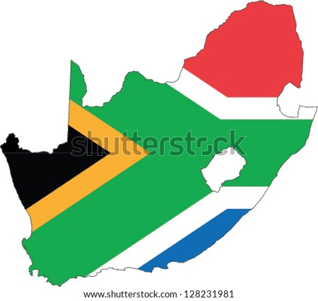 Country shape outlined and filled with the flag of South Africa - stock vector