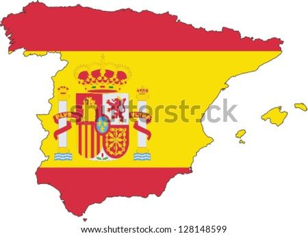 Country shape outlined and filled with the flag of Spain - stock vector