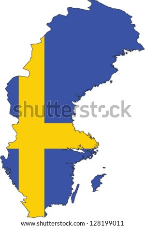 Country shape outlined and filled with the flag of Sweden