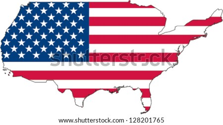 Country shape outlined and filled with the flag of the United States of America - stock vector