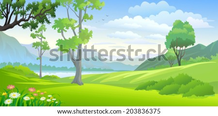 Country side lake and hills  - stock vector