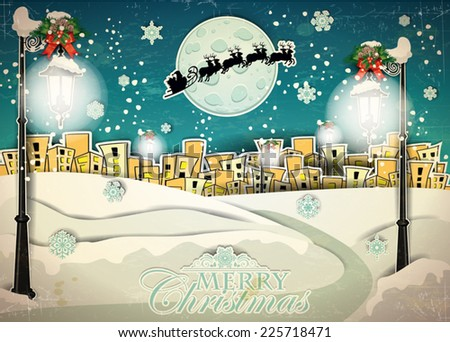Country snowy at Christmas with Santa's sleigh-Vintage effects can be removed- Transparency blending effects and gradient mesh-EPS 10 - stock vector