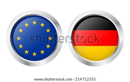 Country - Sticker: Europe + Germany - stock vector