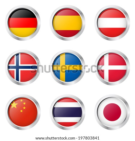 Country - Sticker: Germany, Spain, Austria, ... - stock vector