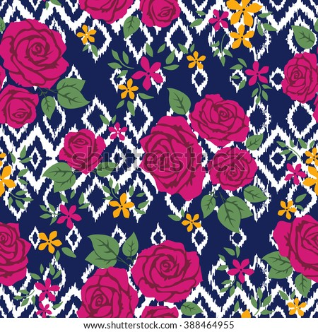 country vector seamless pattern with roses. ethnic abstract flower art print. hipster backdrop. Wallpaper, cloth design, fabric, paper, cover, textile. hand drawn.  - stock vector