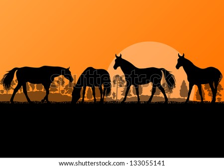 Countryside farm horses silhouettes in wild nature mountain forest landscape illustration background vector