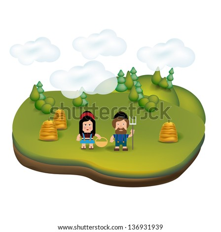 countryside landscape icon with young farmers isolated on white - stock vector