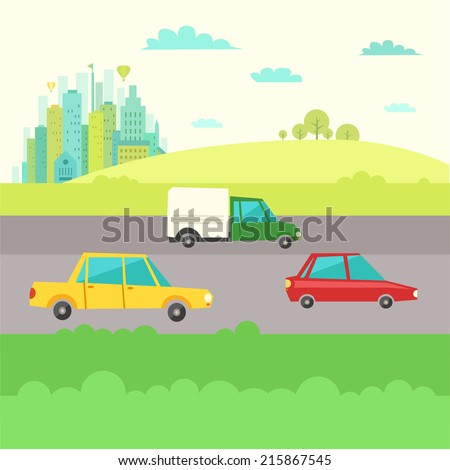 Countryside landscape with cars on road and the city on background. Travel or transportation concept. Vector illustration in flat style.  - stock vector