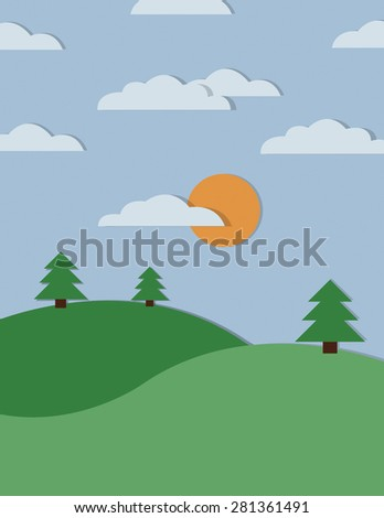 Countryside landscape with setting sun and clouds - stock vector